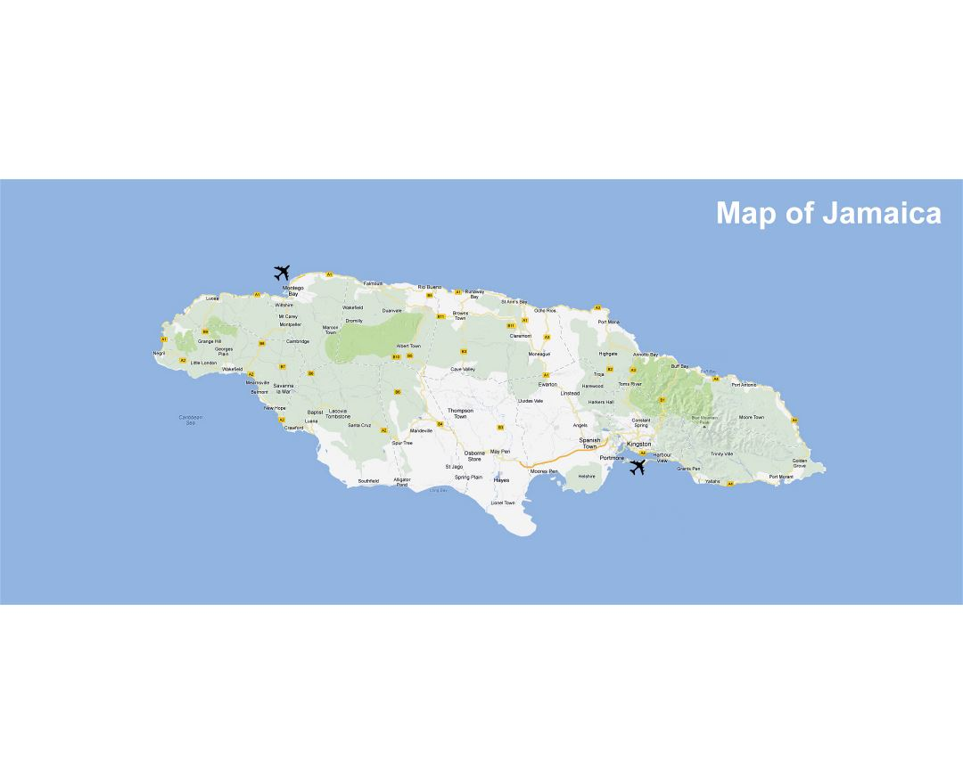Large map of Jamaica with roads, cities and airports
