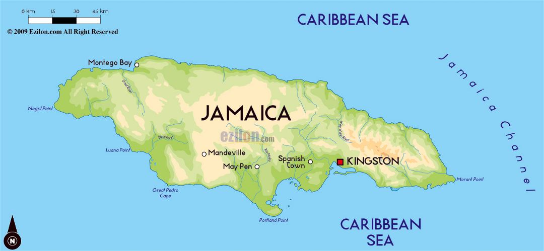 Large physical map of Jamaica with major cities