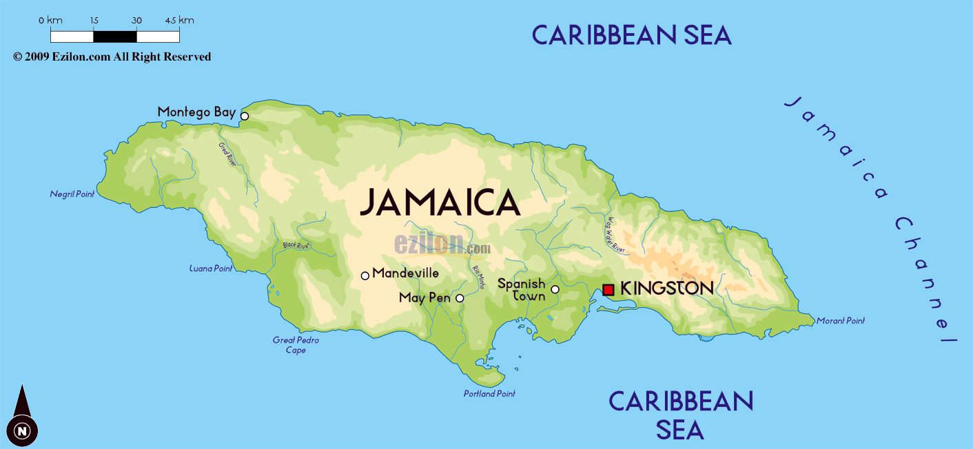 Map Of North America Jamaica.Large Physical Map Of Jamaica With Major Cities Jamaica