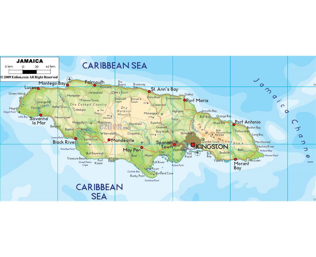 Large physical map of Jamaica with roads, cities and airports