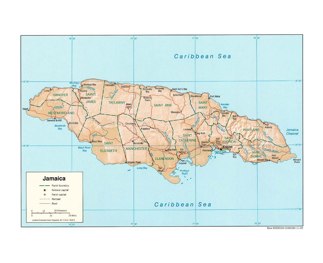 Large political and administrative map of Jamaica with relief, roads, railroads and cities - 2002