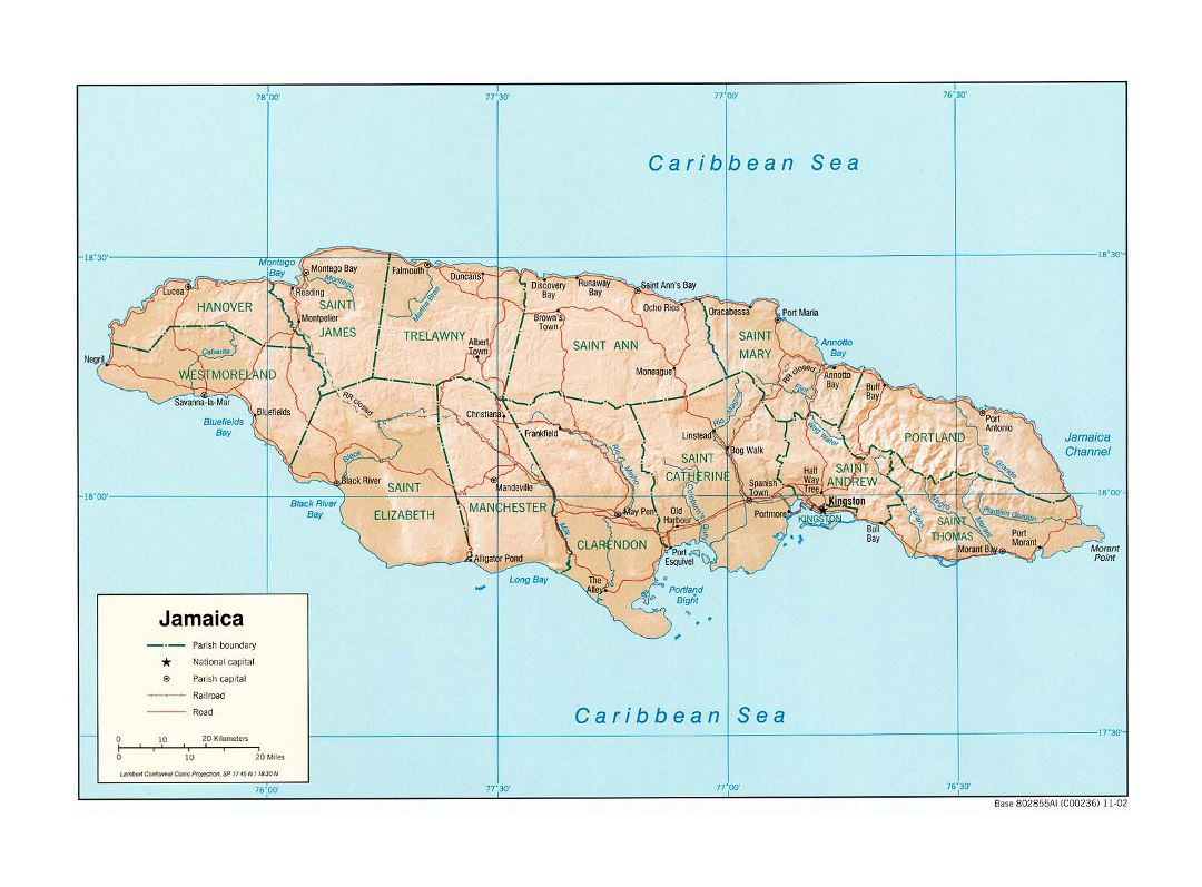 Large political and administrative map of Jamaica with ...