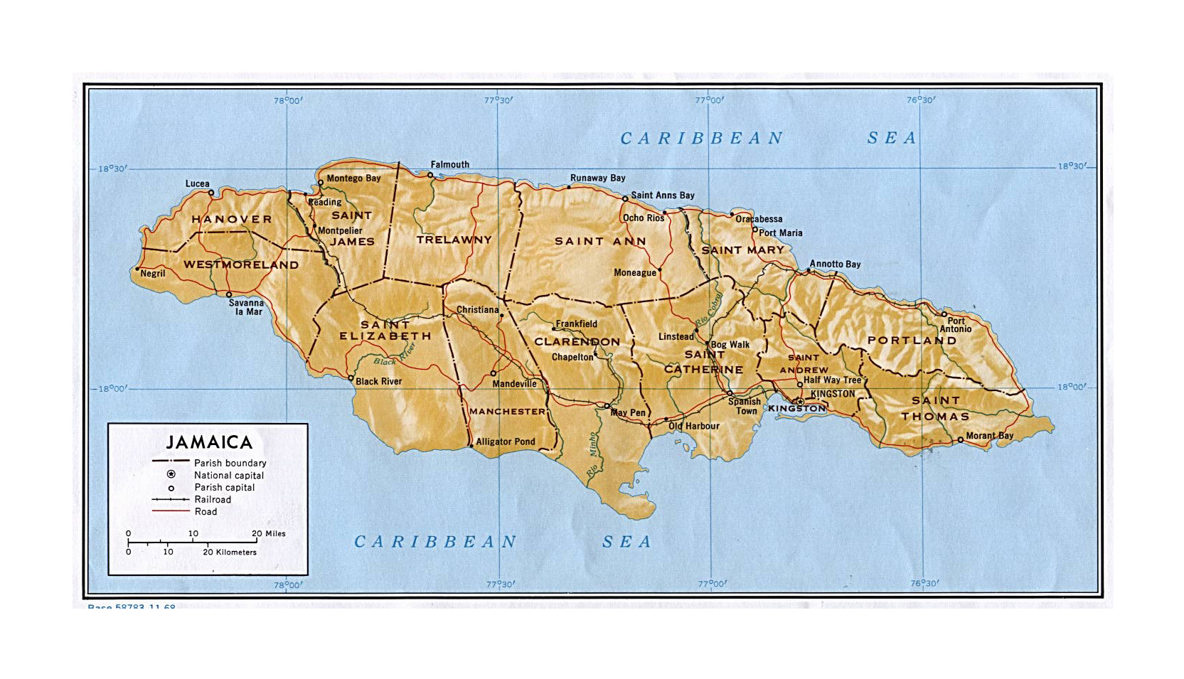 Large political and administrative map of Jamaica with relief roads