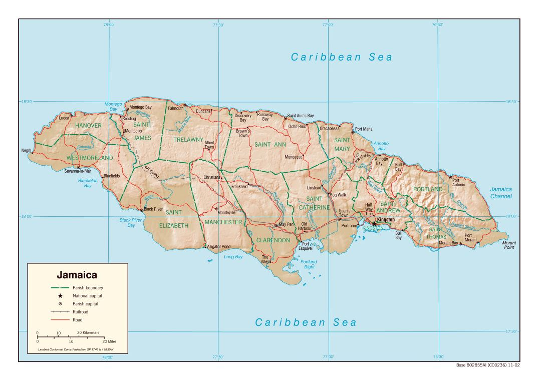 Large political and administrative map of Jamaica with relief, roads, railroads and major cities - 2002