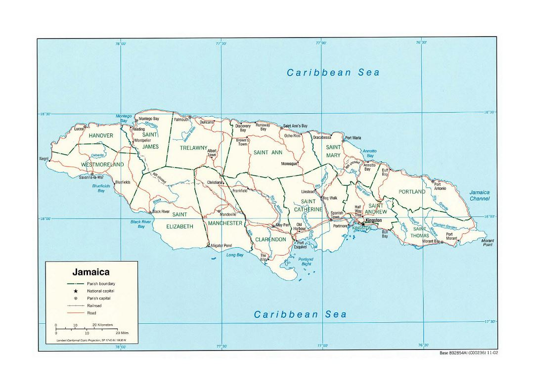 Large political and administrative map of Jamaica with roads, railroads and cities - 2002