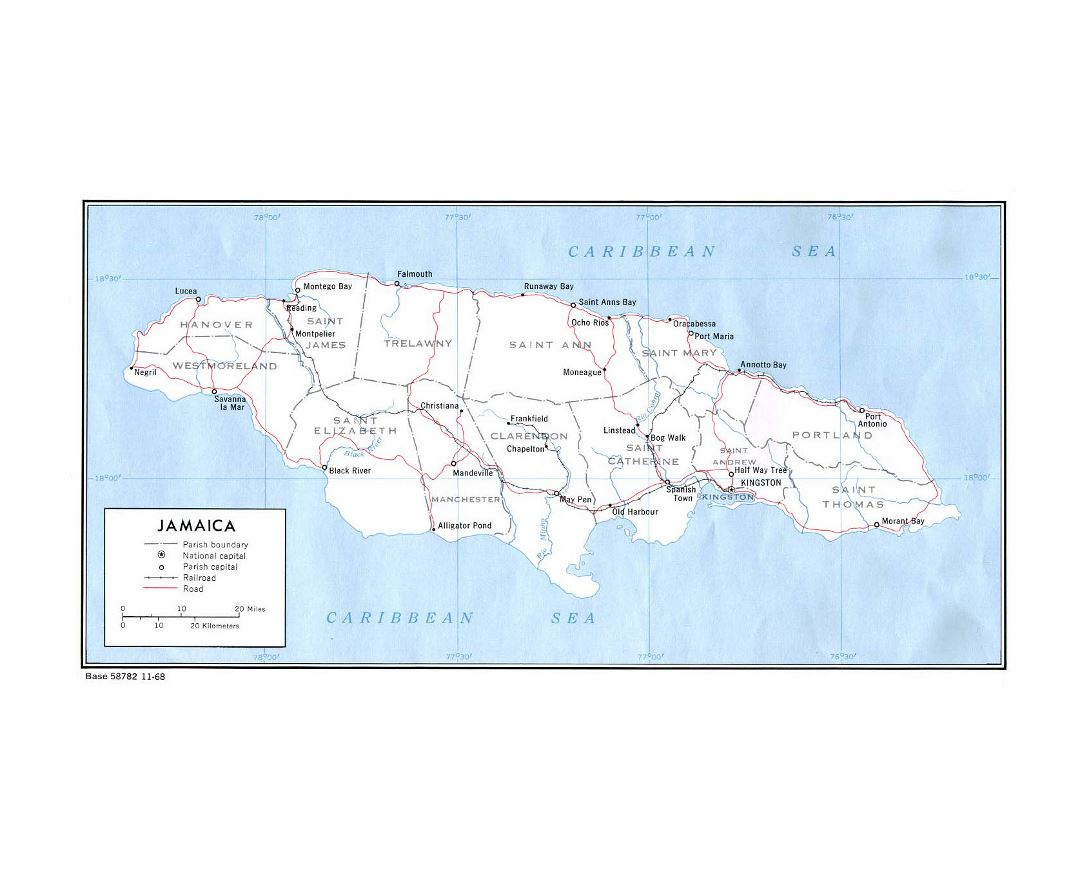 Maps Of Jamaica Detailed Map Of Jamaica In English Tourist Map - Jamaica political map 1968