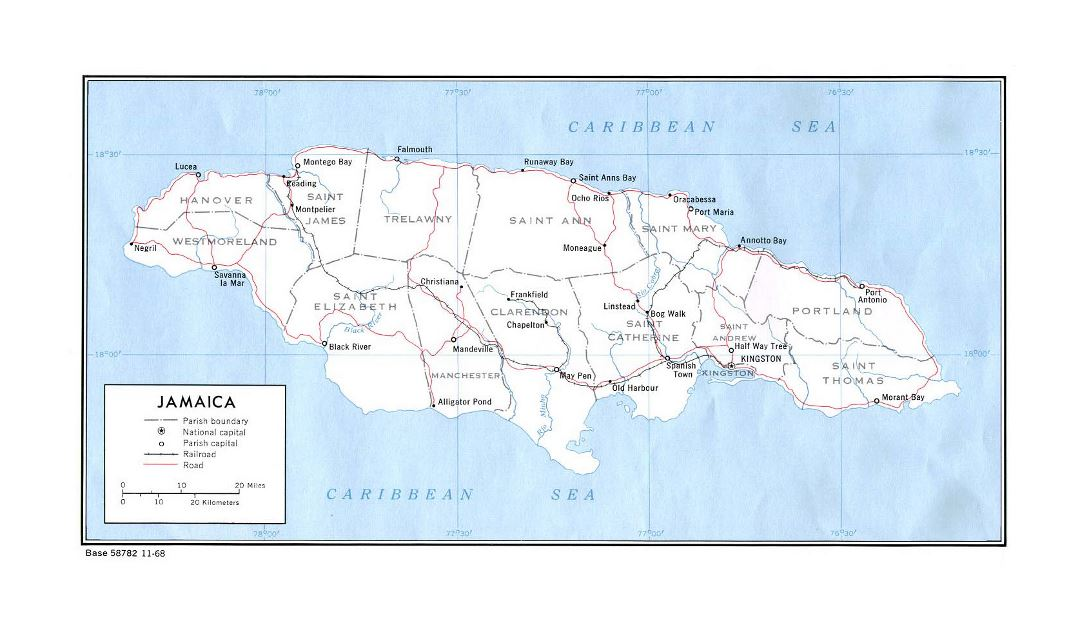 Large political and administrative map of Jamaica with roads, railroads and major cities - 1968