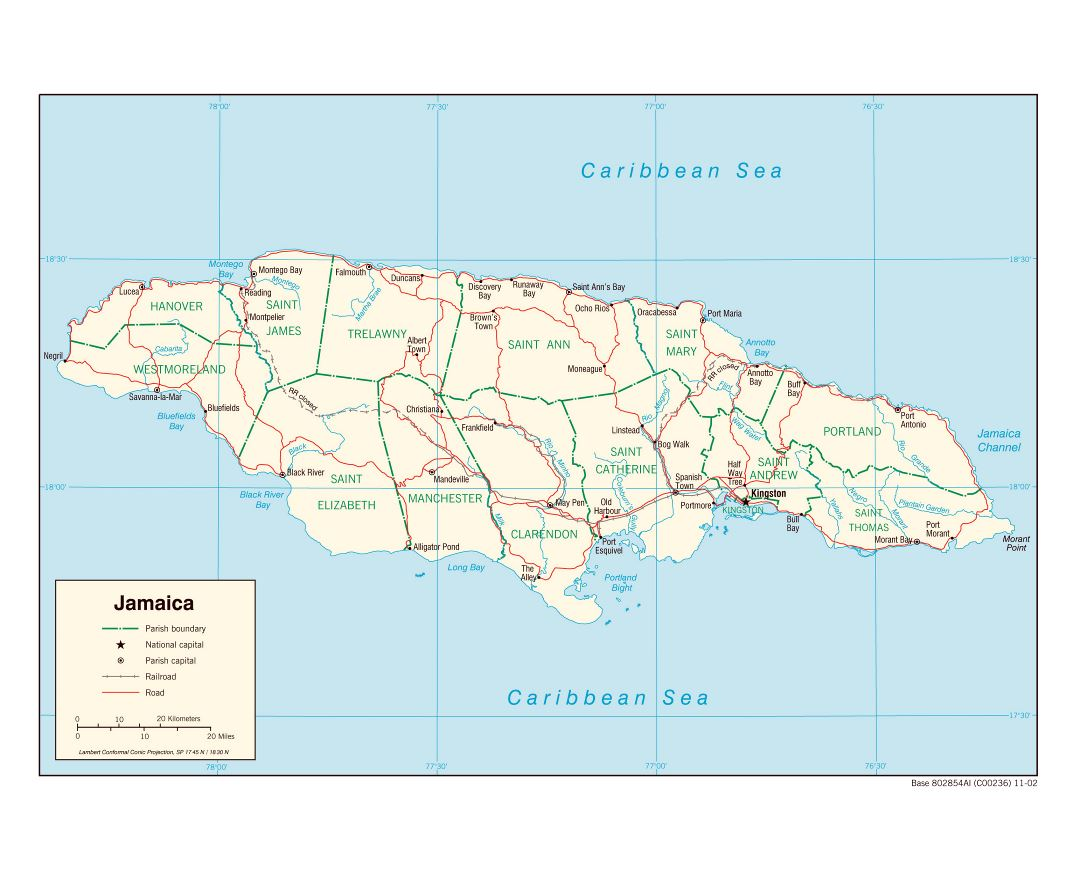 Large political and administrative map of Jamaica with roads, railroads and major cities - 2002