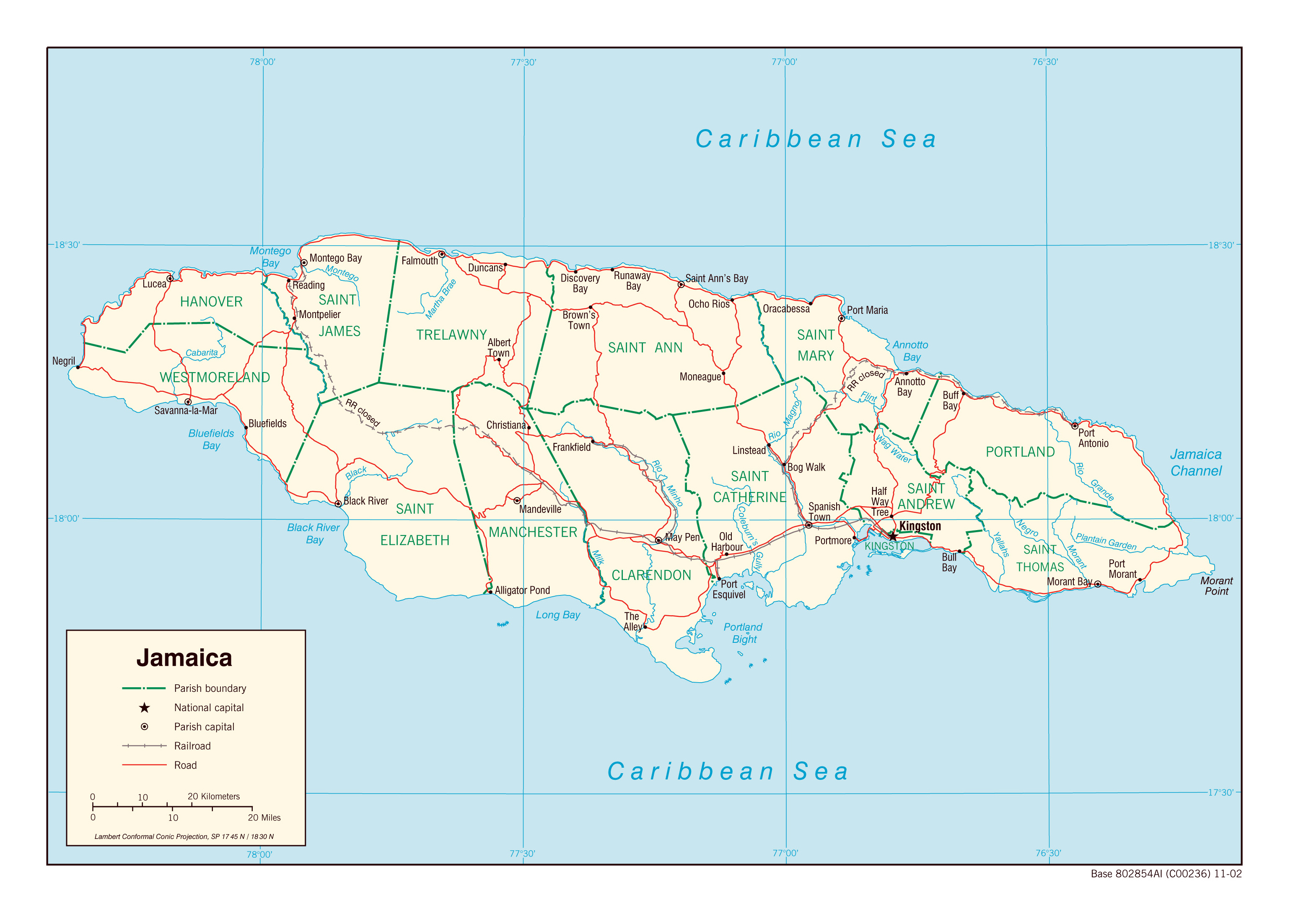 Large political and administrative map of Jamaica with roads ...