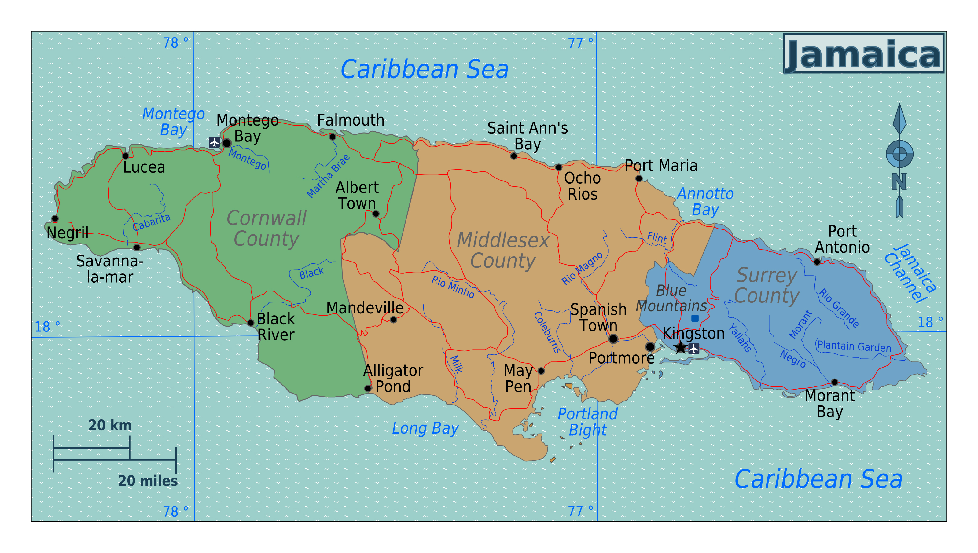 Map Of North America Jamaica.Large Regions Map Of Jamaica Jamaica North America