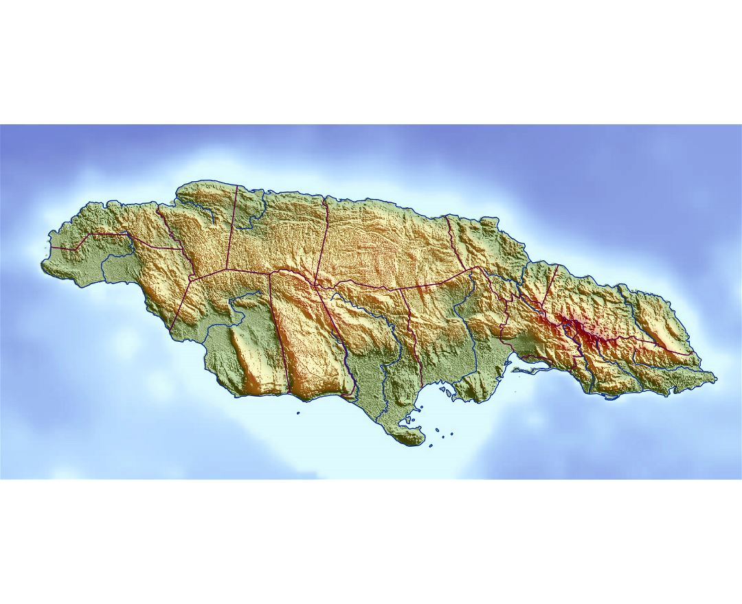 Large relief map of Jamaica