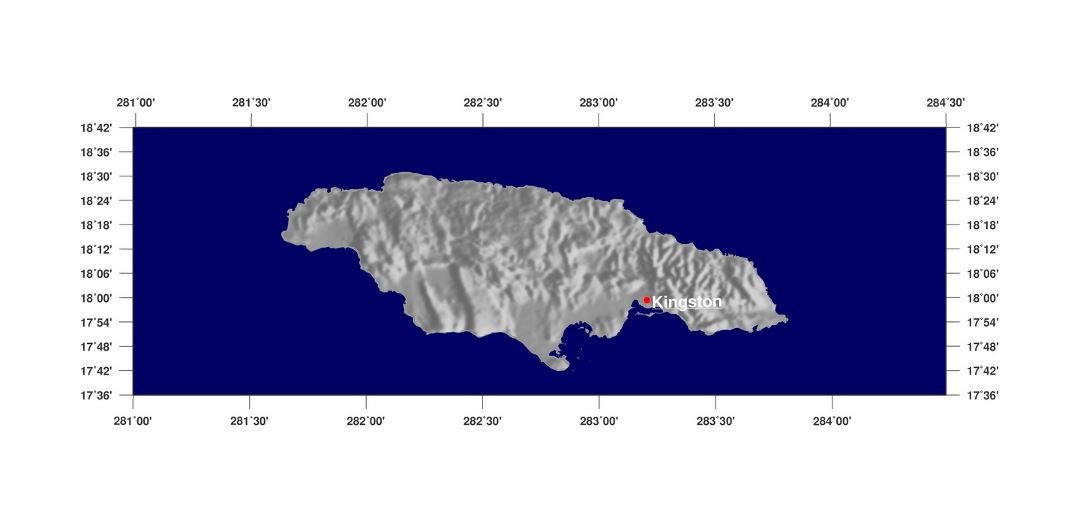 Large relief map of Jamaica with capital