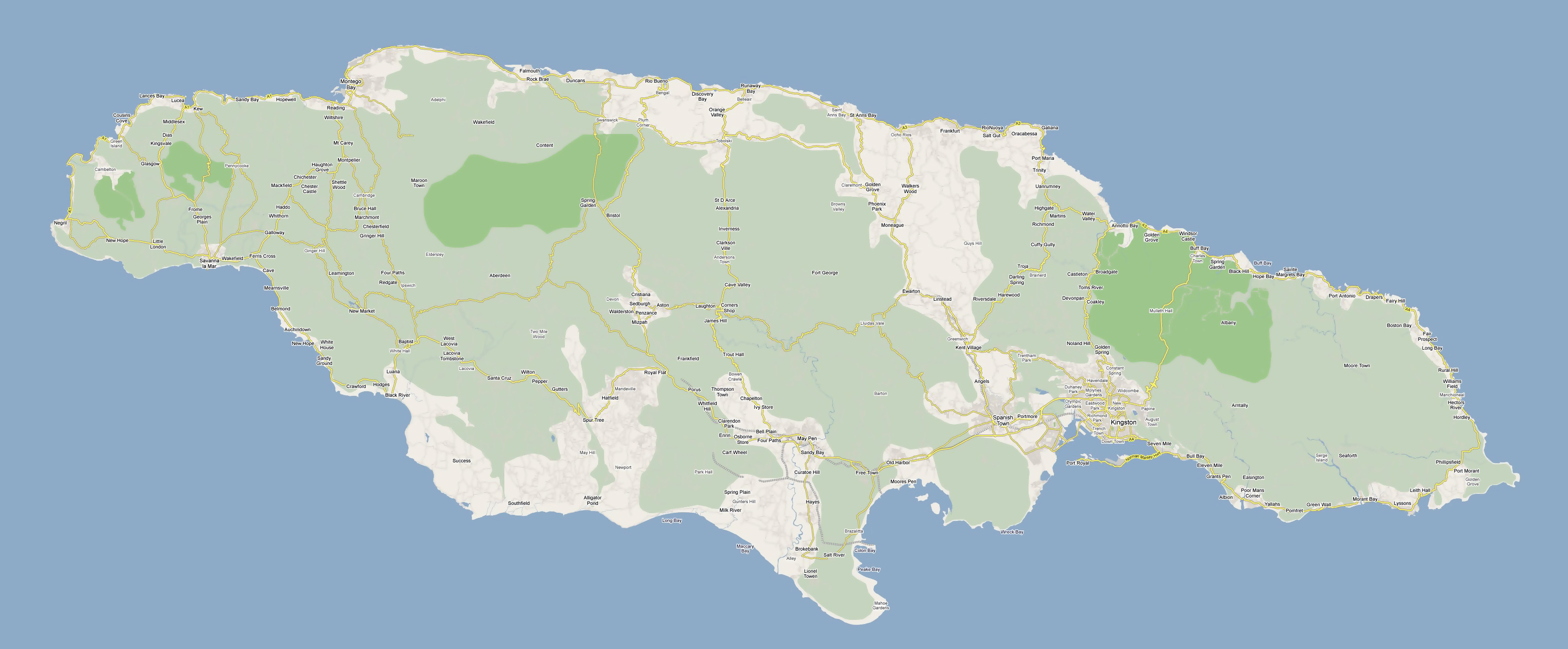 Large road map of Jamaica with cities and villages Jamaica North