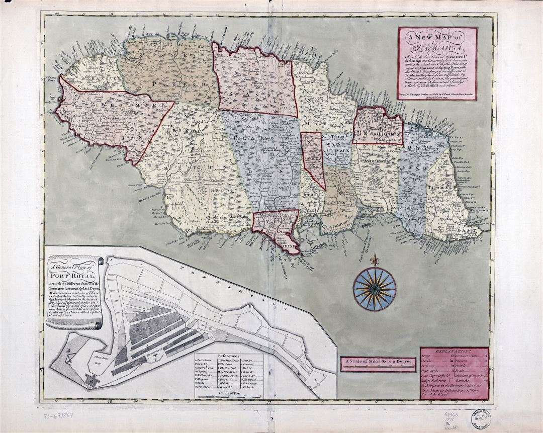 Large scale detailed old map of Jamaica with administrative divisions and other marks - 1771