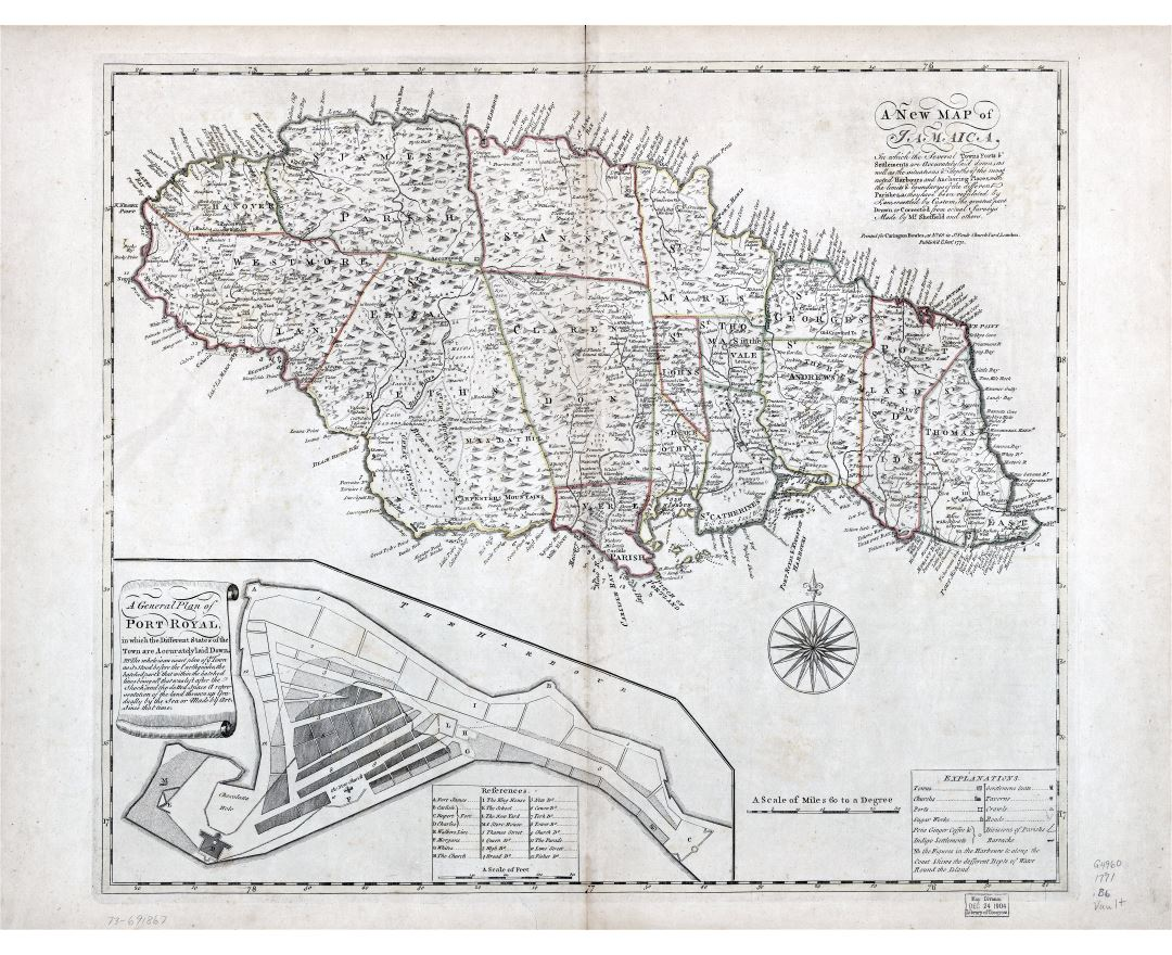 Large scale detailed old map of Jamaica with relief, administrative divisions and other marks - 1771