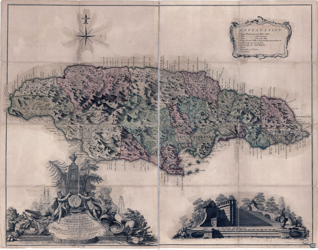 Large scale detailed old map of Jamaica with relief and other marks - 1763