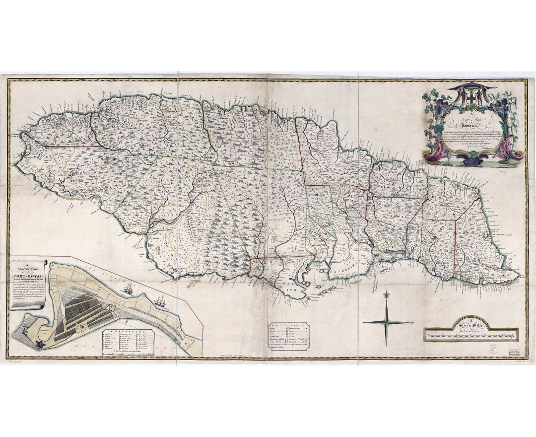 Large scale detailed old political and administrative map of Jamaica with relief and other marks - 1755