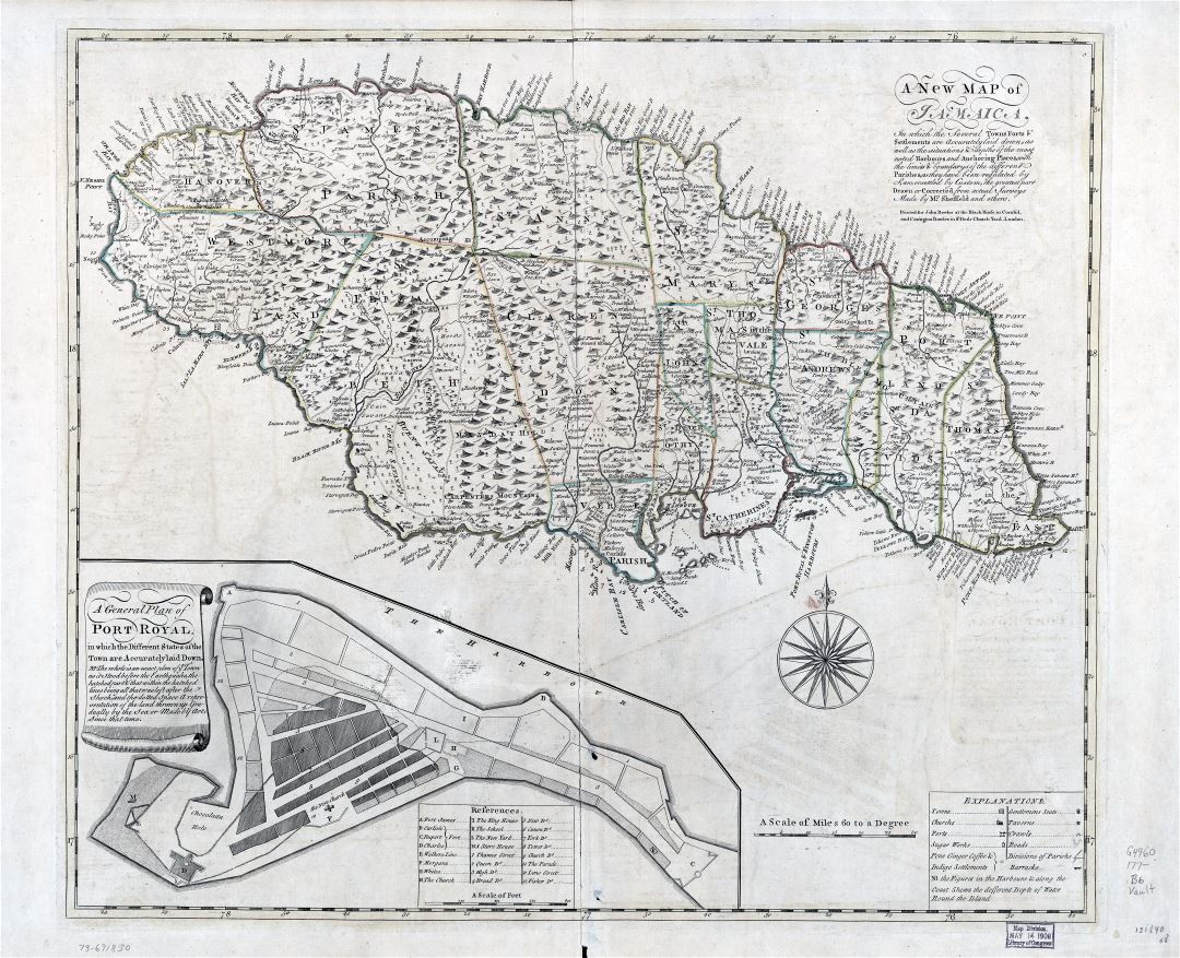 Large scale old map of Jamaica with administrative divisions and other marks - 177x