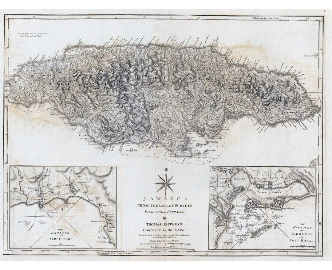 Large scale old map of Jamaica with relief - 1775