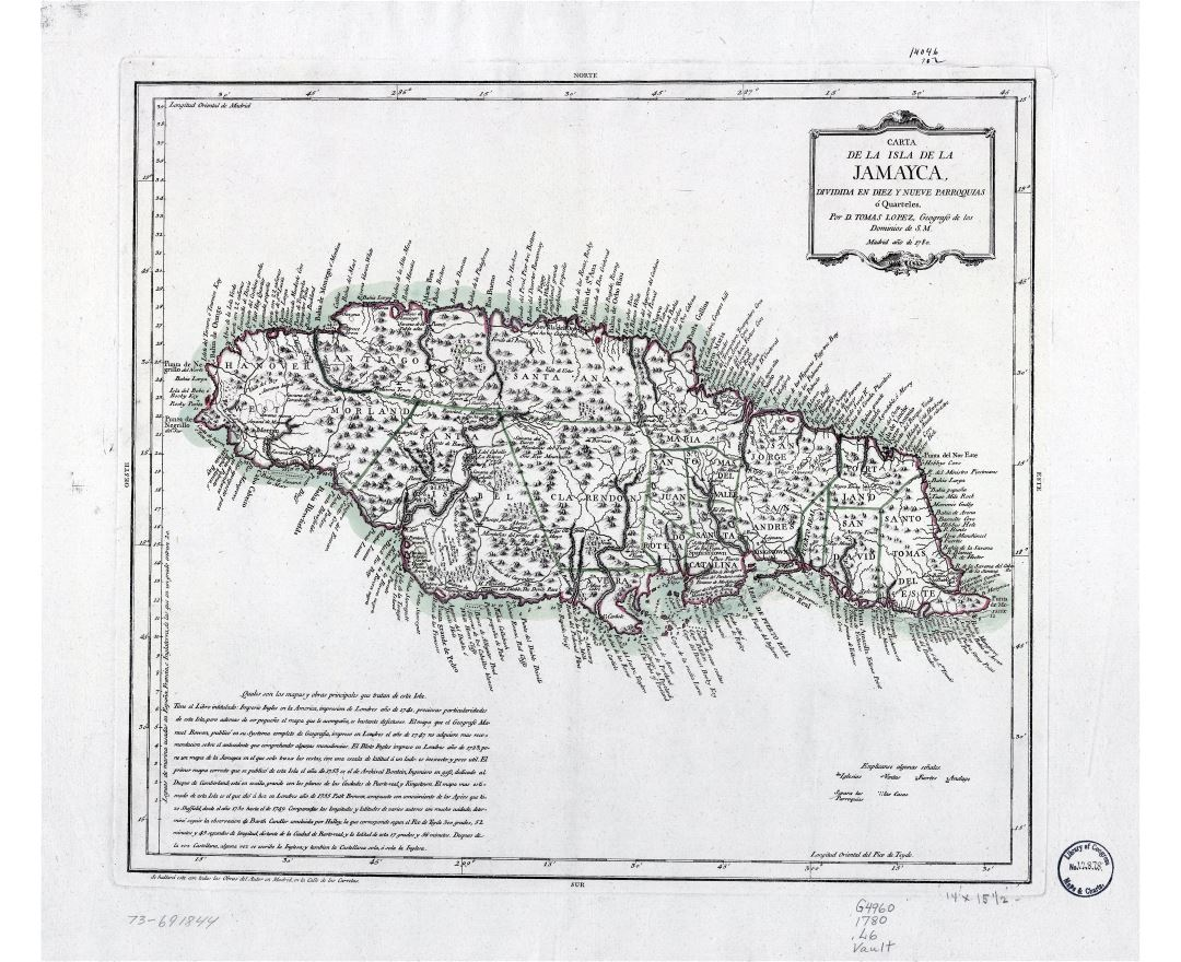 Large scale old map of Jamaica with relief and other marks - 1780