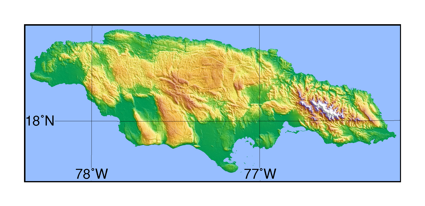 large topographical map of jamaica