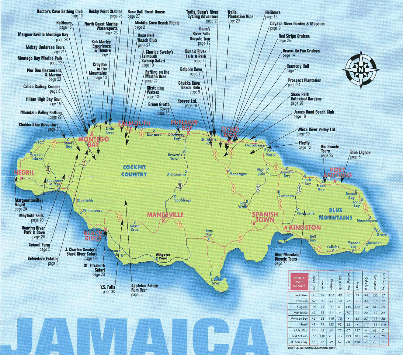 large travel map of jamaica