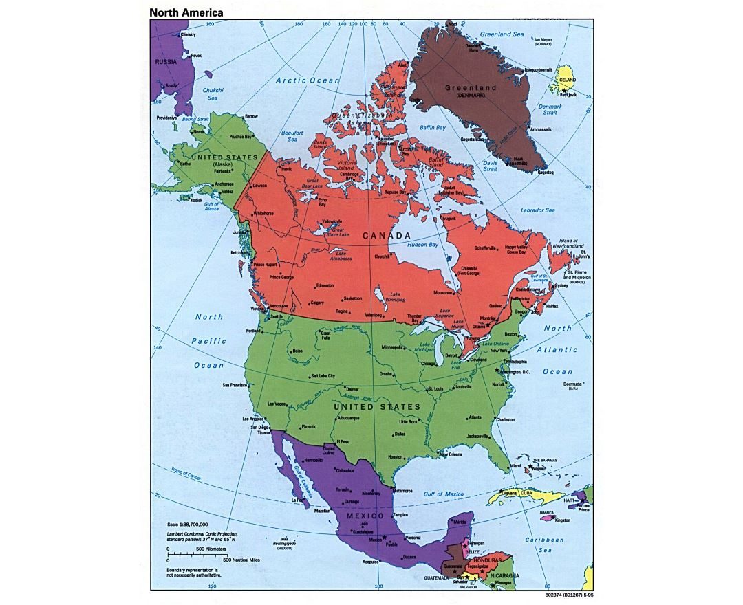 Large detailed political map of North America - 1995