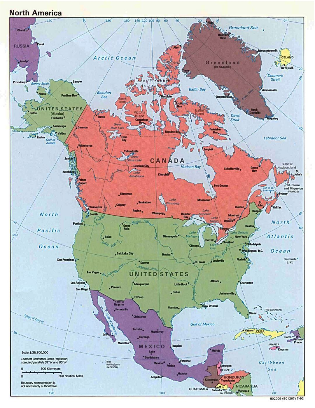 Large detailed political map of North America with capitals and major cities - 1992