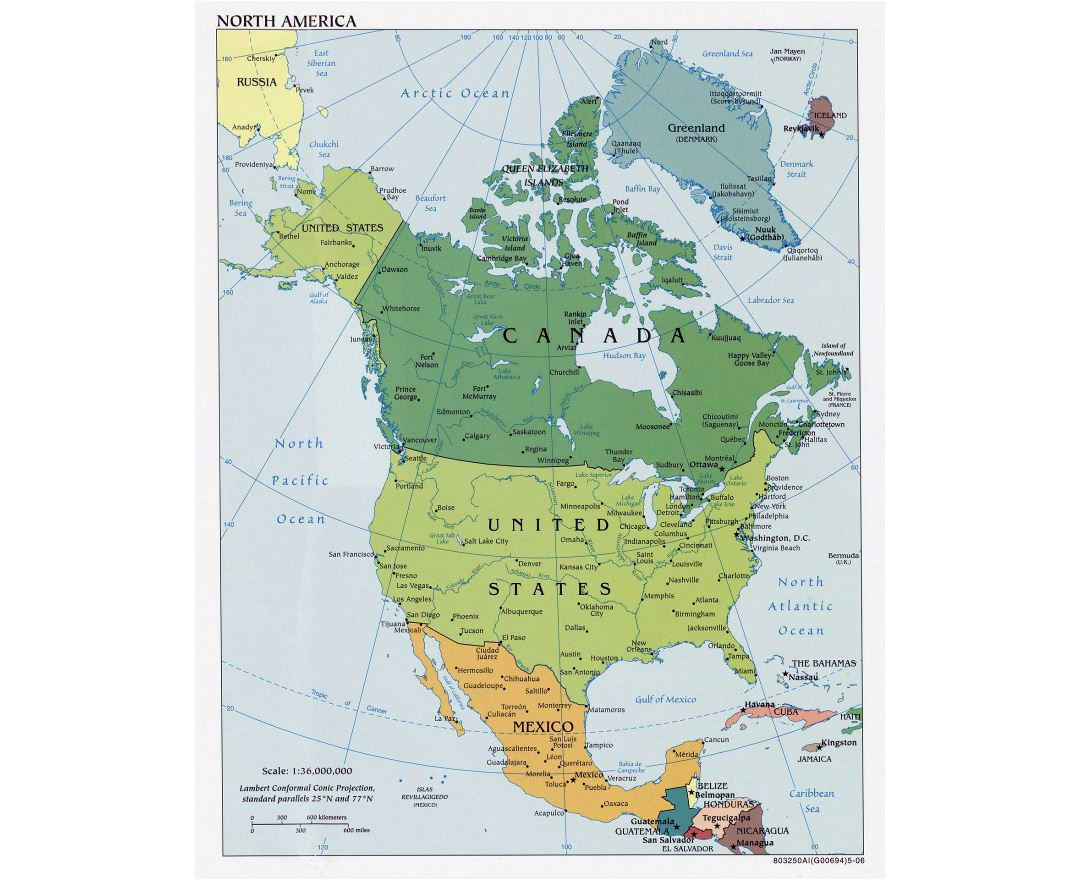 Large detailed political map of North America with major cities - 2006