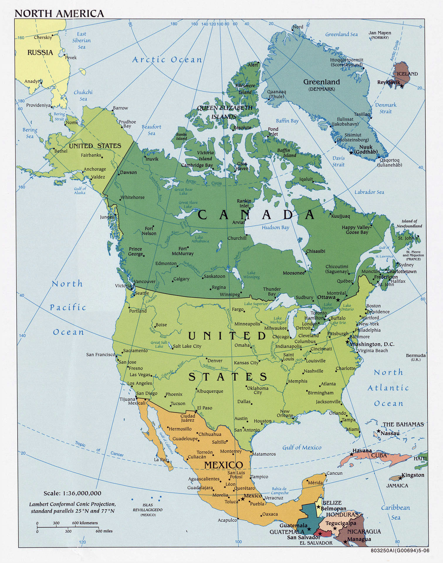 Image of: Large Detailed Political Map Of North America With Major Cities 2006 North America Mapsland Maps Of The World