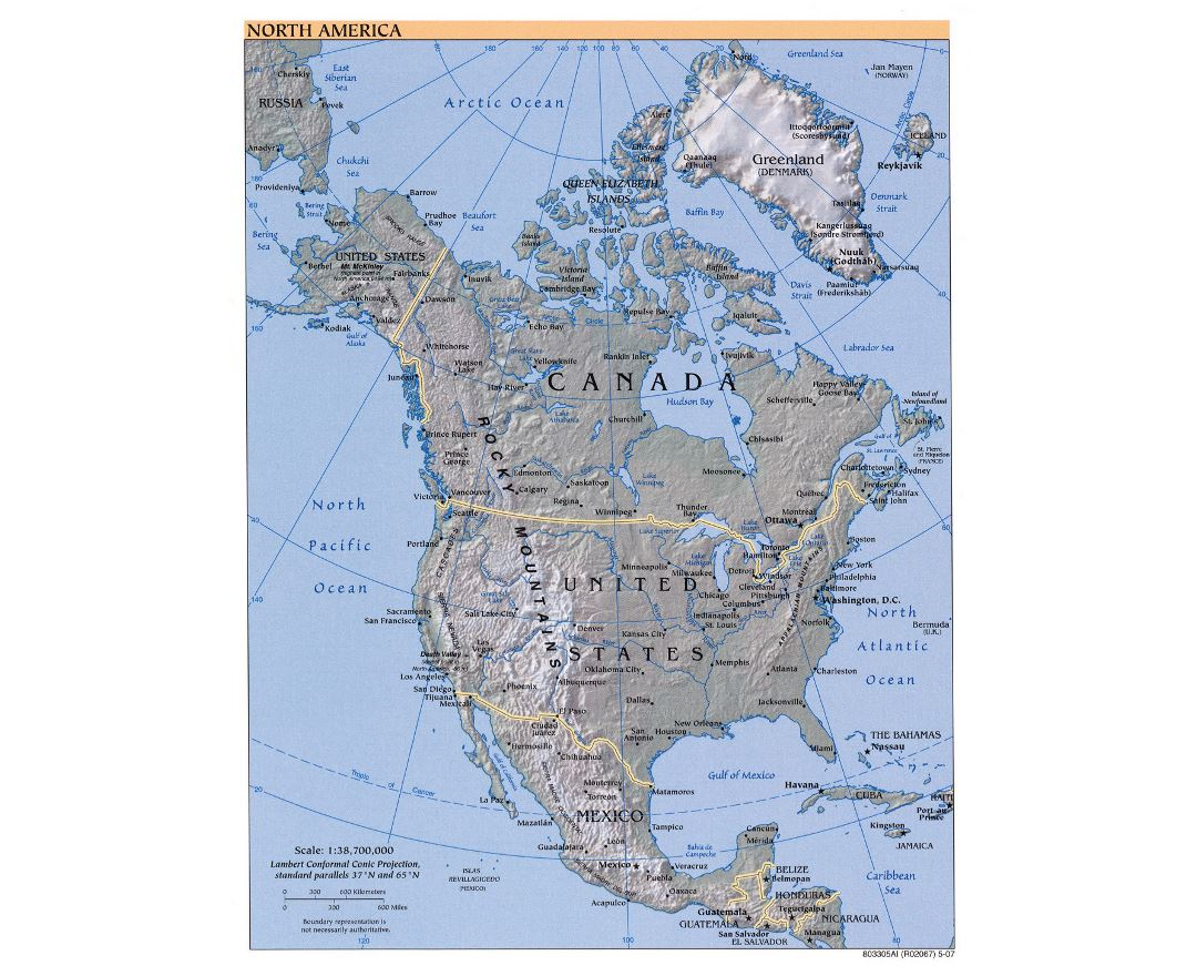 Large detailed political map of North America with relief and major cities - 2007