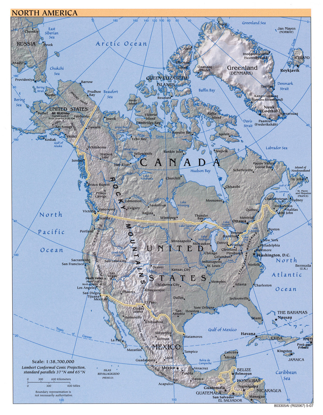 Large detailed political map of North America with relief and major