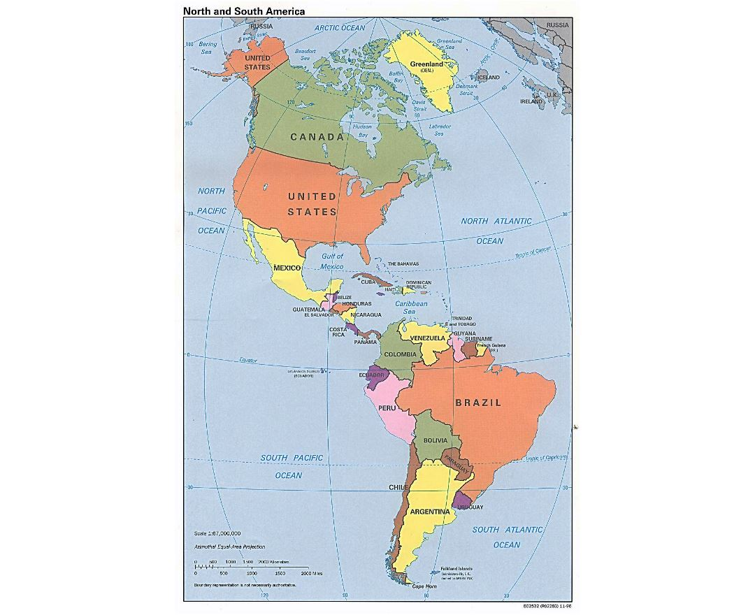 Large detailed political map of North and South America - 1996
