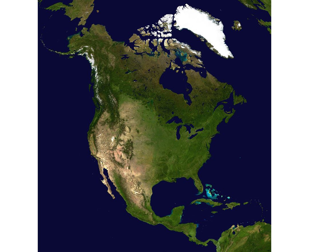 Large detailed satellite map of North America