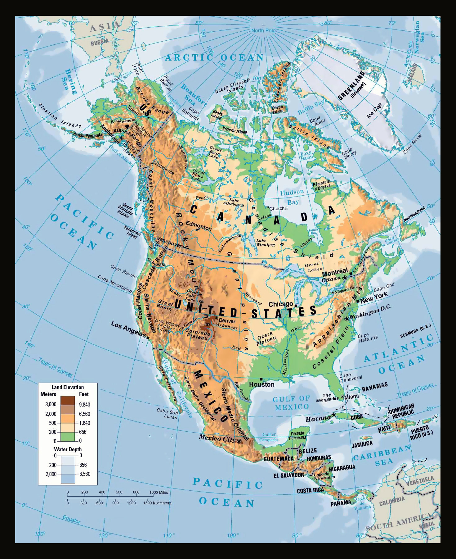 Large physical map of North America | North America | Mapsland ...