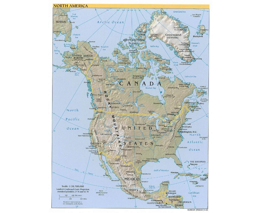 Large political map of North America with relief, major cities and capitals - 2002