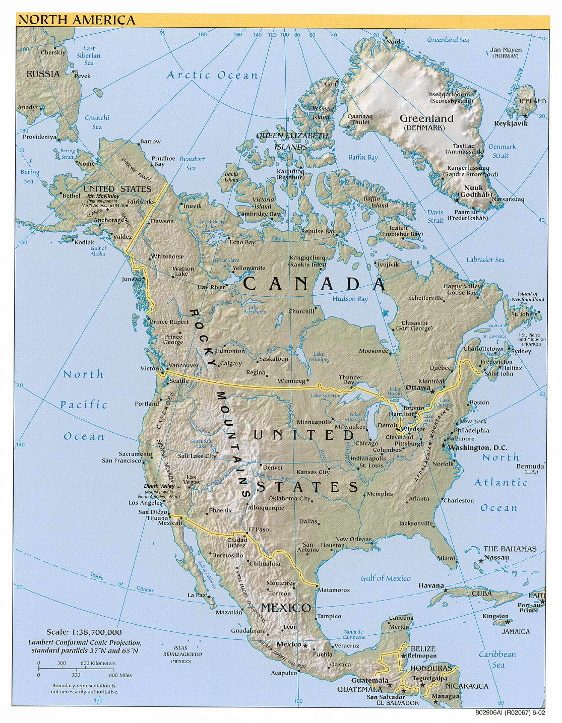 Large political map of North America with relief, major ...