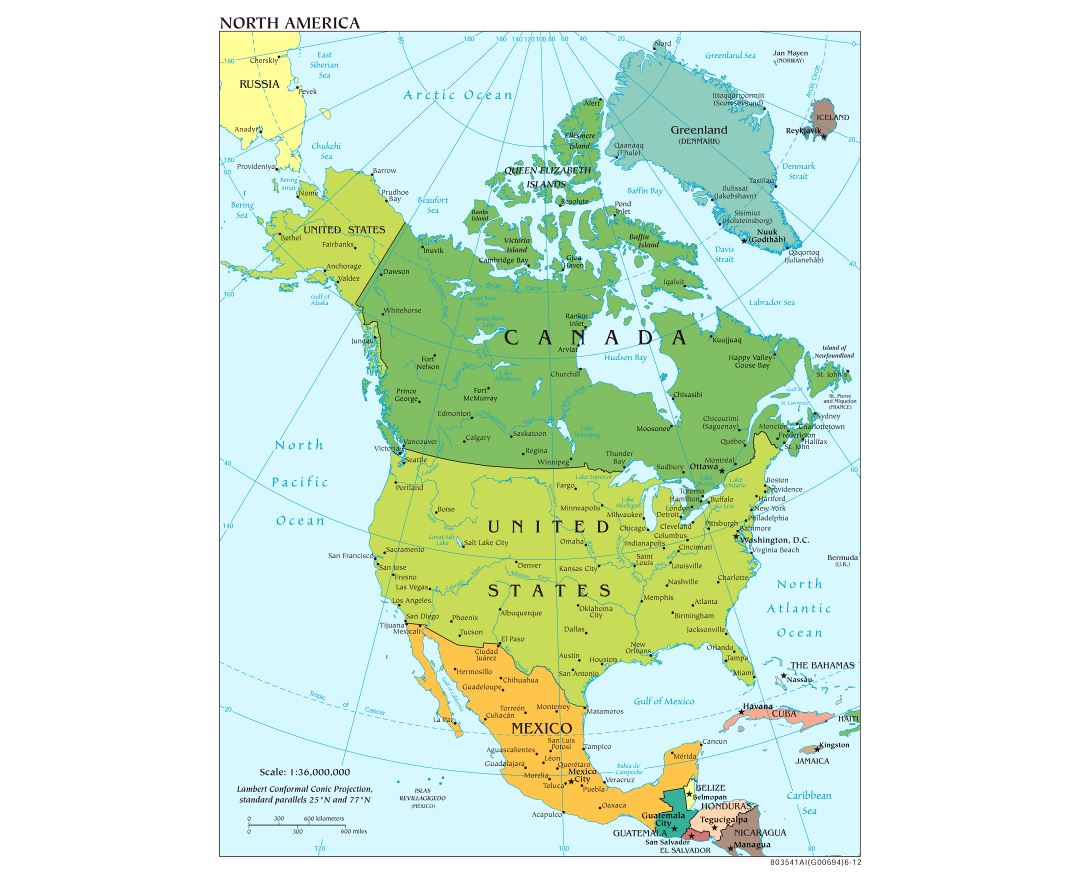 Large scale political map of North America with major cities and capitals - 2012