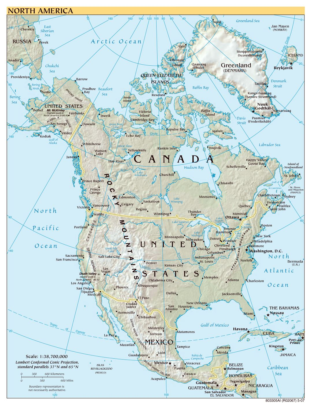 Large scale political map of North America with relief - 2007