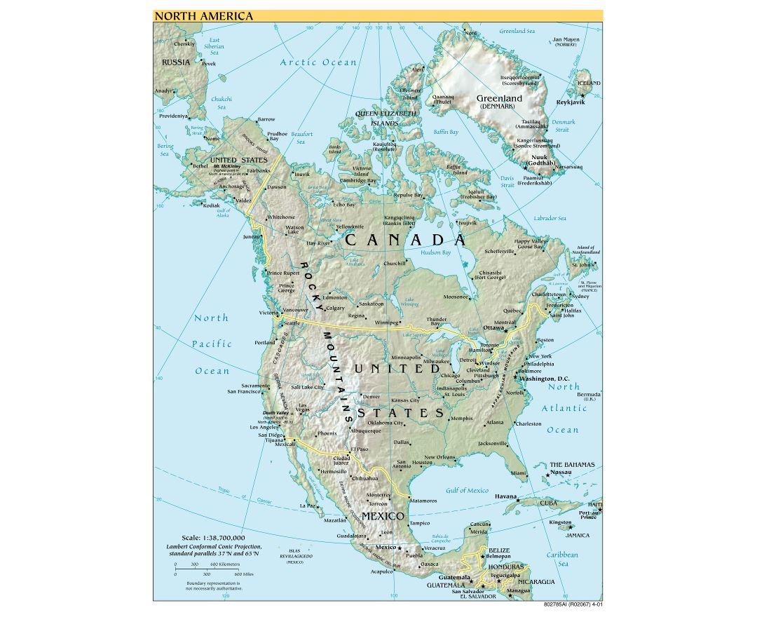Large scale political map of North America with relief and capitals - 2001