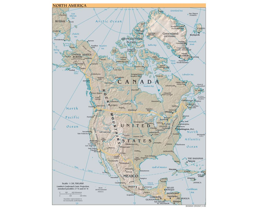 Large scale political map of North America with relief and cities - 2000