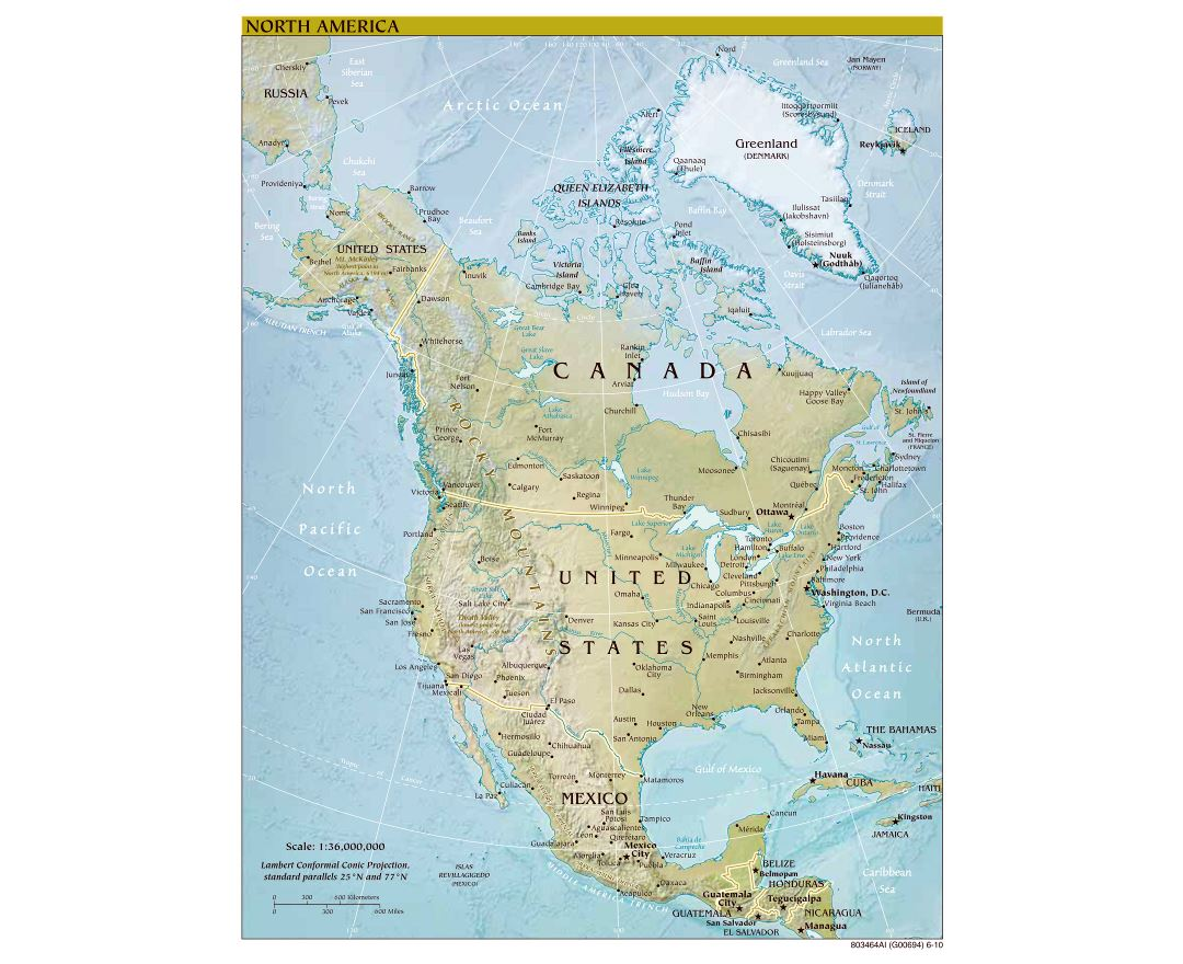 Large scale political map of North America with relief, major cities and capitals - 2010
