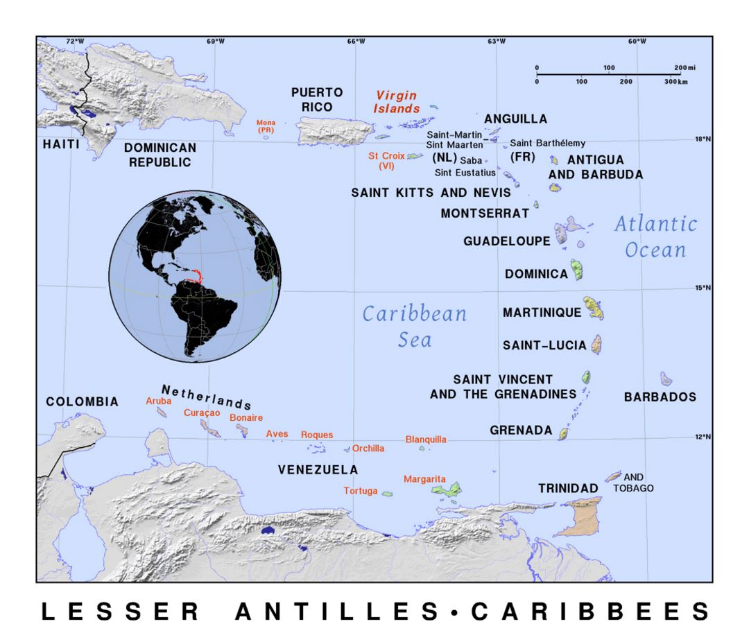 Detailed political map of lesser antilles with relief lesser detailed political map of lesser antilles with relief publicscrutiny Gallery