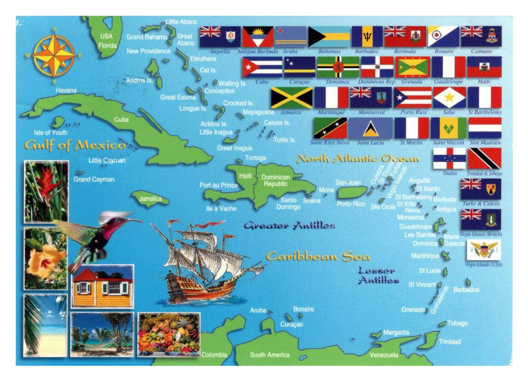 Large map of the countries and territories in Caribbean with flags
