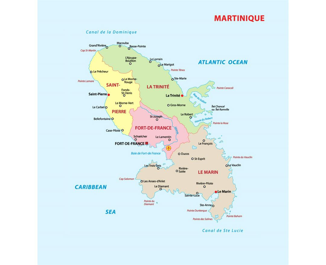 Administrative map of Martinique with cities and airports
