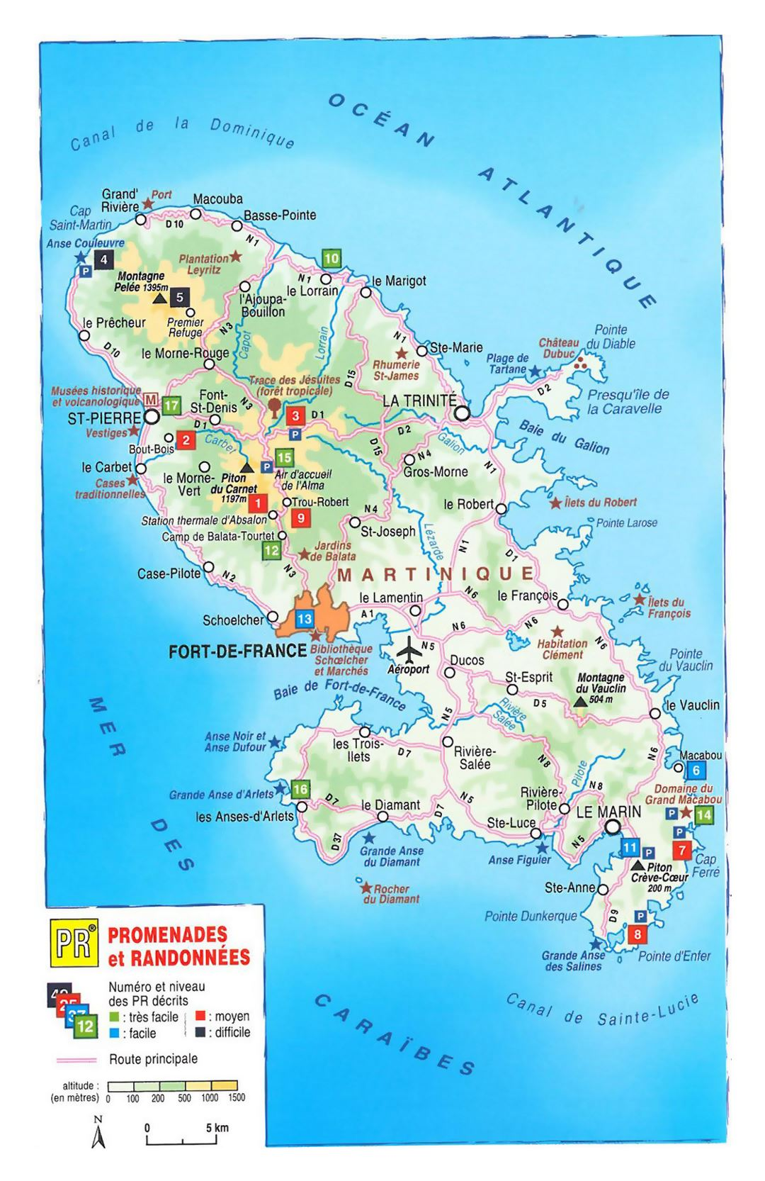 Detailed elevation map of Martinique with other marks