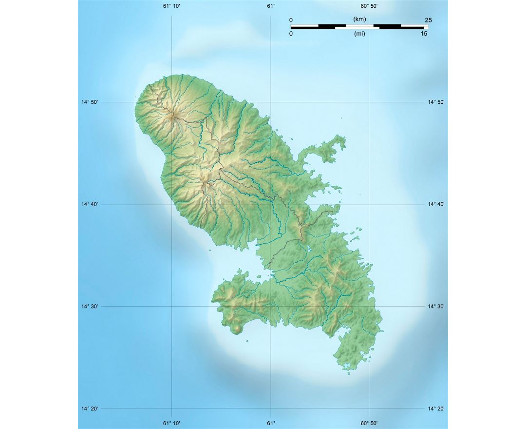 Detailed relief map of Martinique