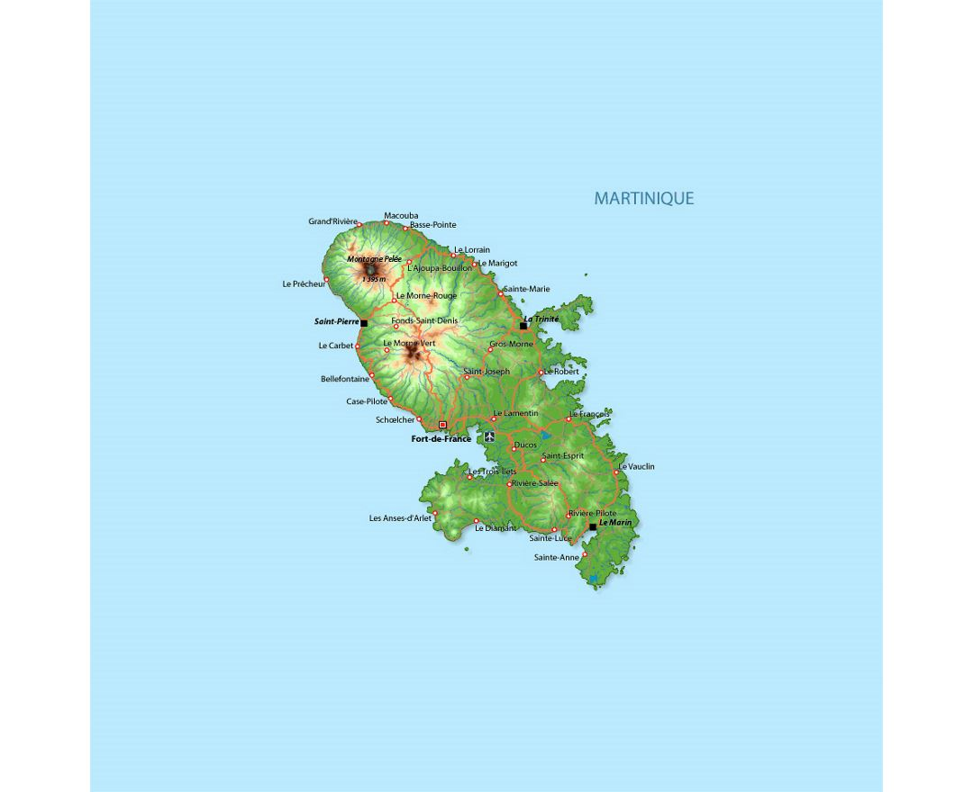 Elevation map of Martinique with roads, cities and airports