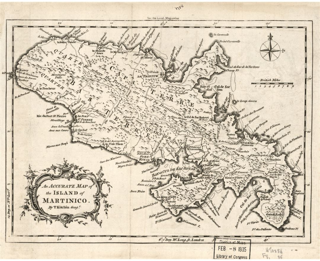 Large detailed old map of Martinique with relief and other marks - 1758
