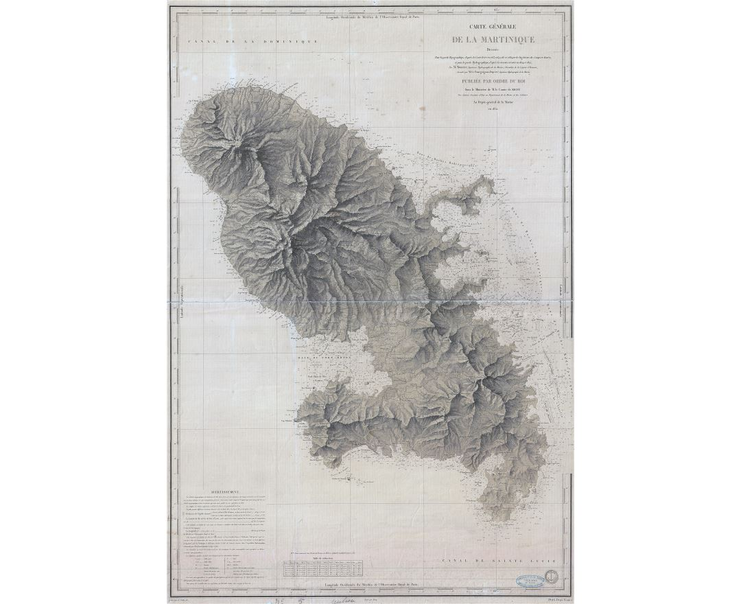 Large detailed old relief map of Martinique - 1831